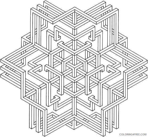 3d geometric coloring pages printable Coloring4free