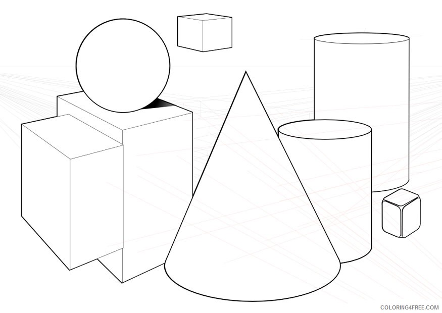 3d shape coloring pages Coloring4free