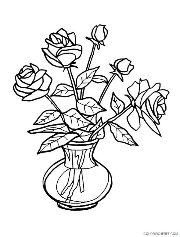 Flower Vase Coloring Pages Printable Coloring4free