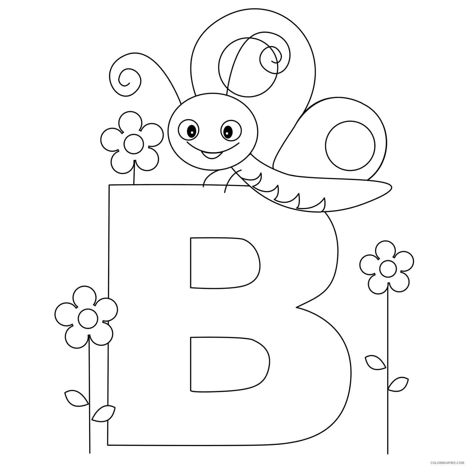 abc coloring pages b for butterfly Coloring4free