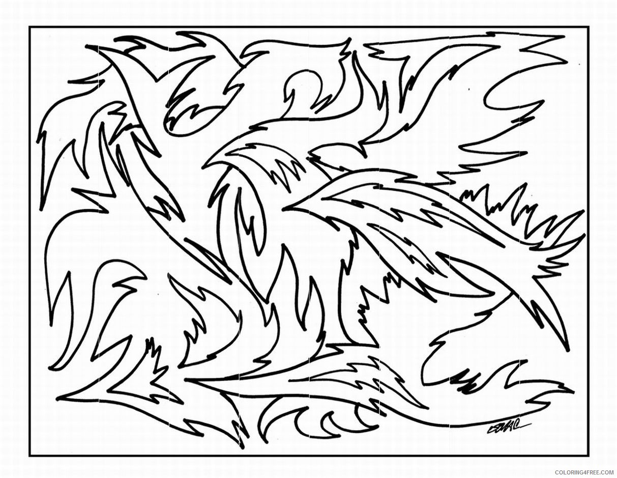 abstract fire printable coloring pages Coloring4free