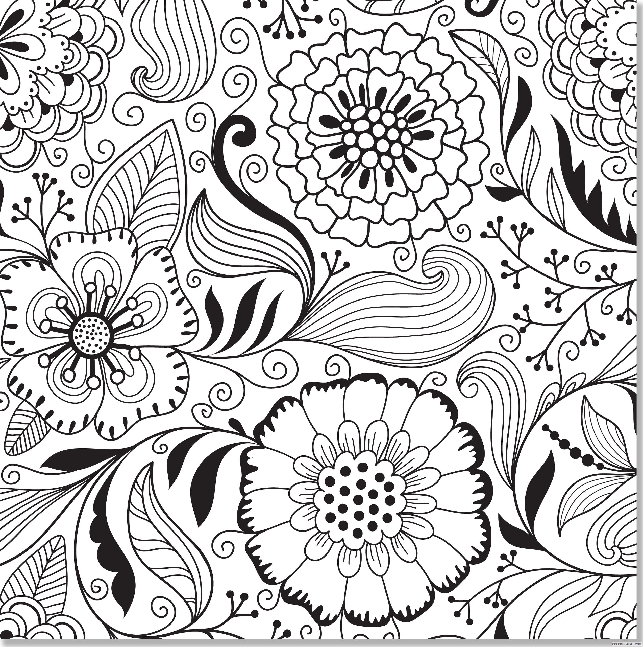 abstract flowers printable coloring pages Coloring4free