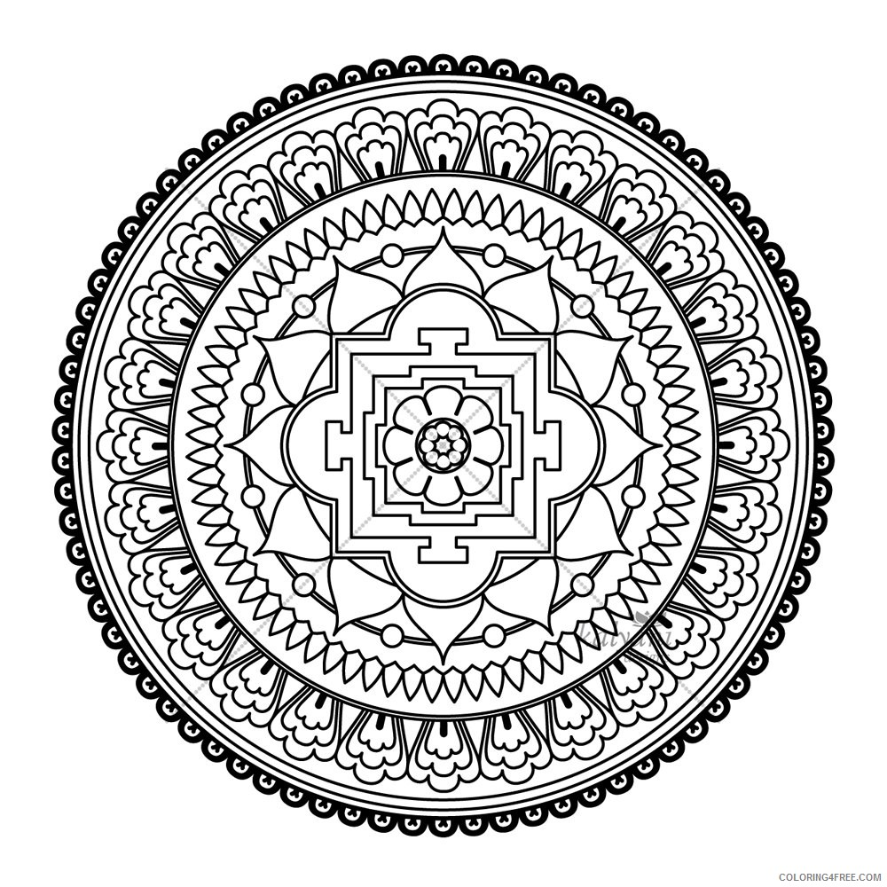 abstract mandala printable coloring pages for adults Coloring4free