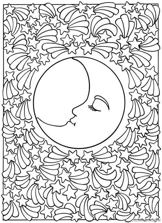 abstract moon coloring pages for teens Coloring4free