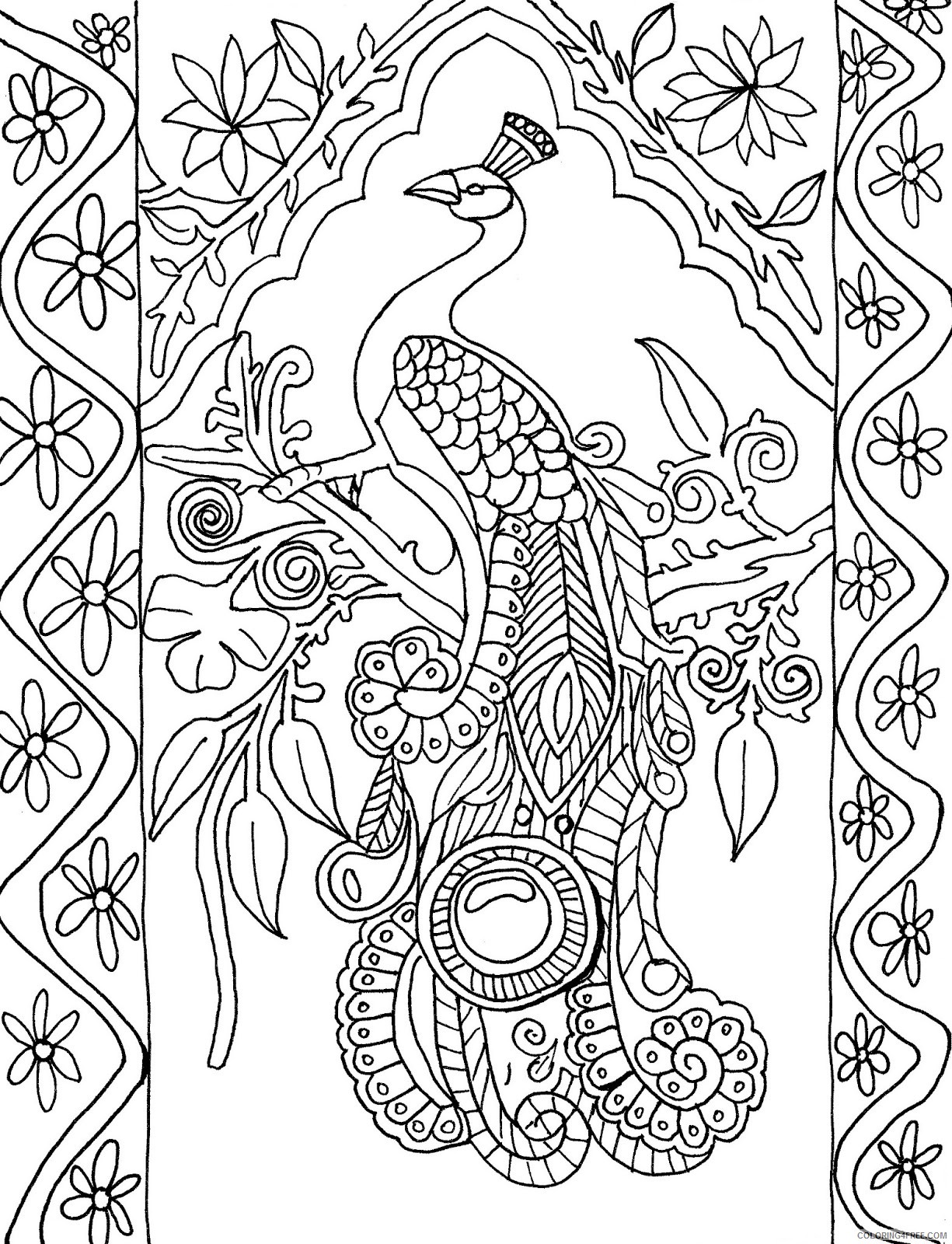 abstract peacock coloring pages for adults Coloring4free