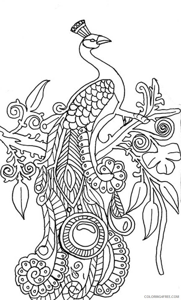 abstract peacock coloring pages on tree Coloring4free