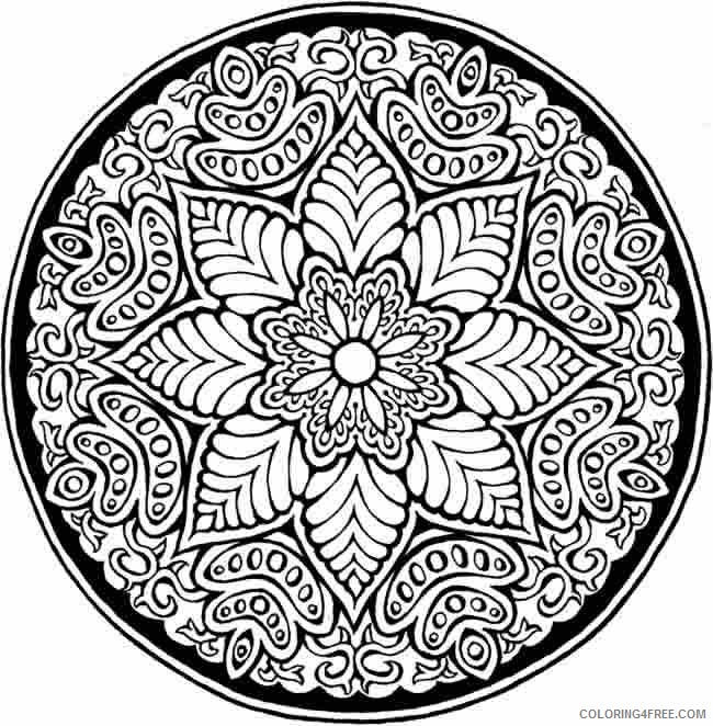 abstract printable coloring pages floral mandala Coloring4free