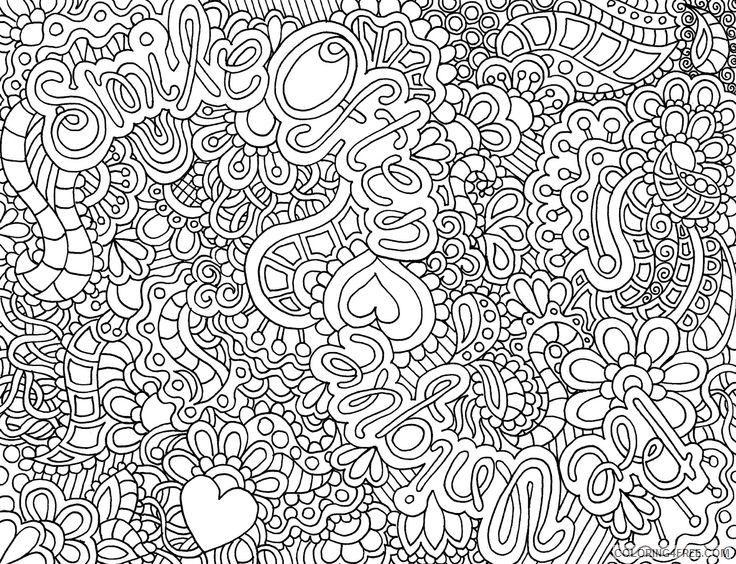 abstract printable coloring pages with words for adults Coloring4free