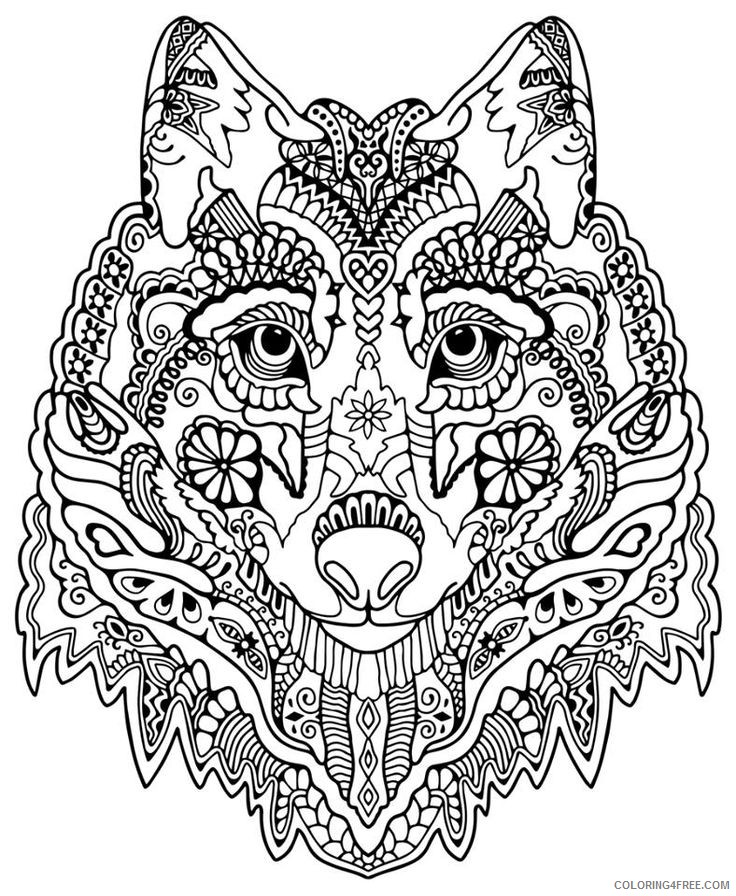 abstract wolf coloring pages for adults Coloring4free