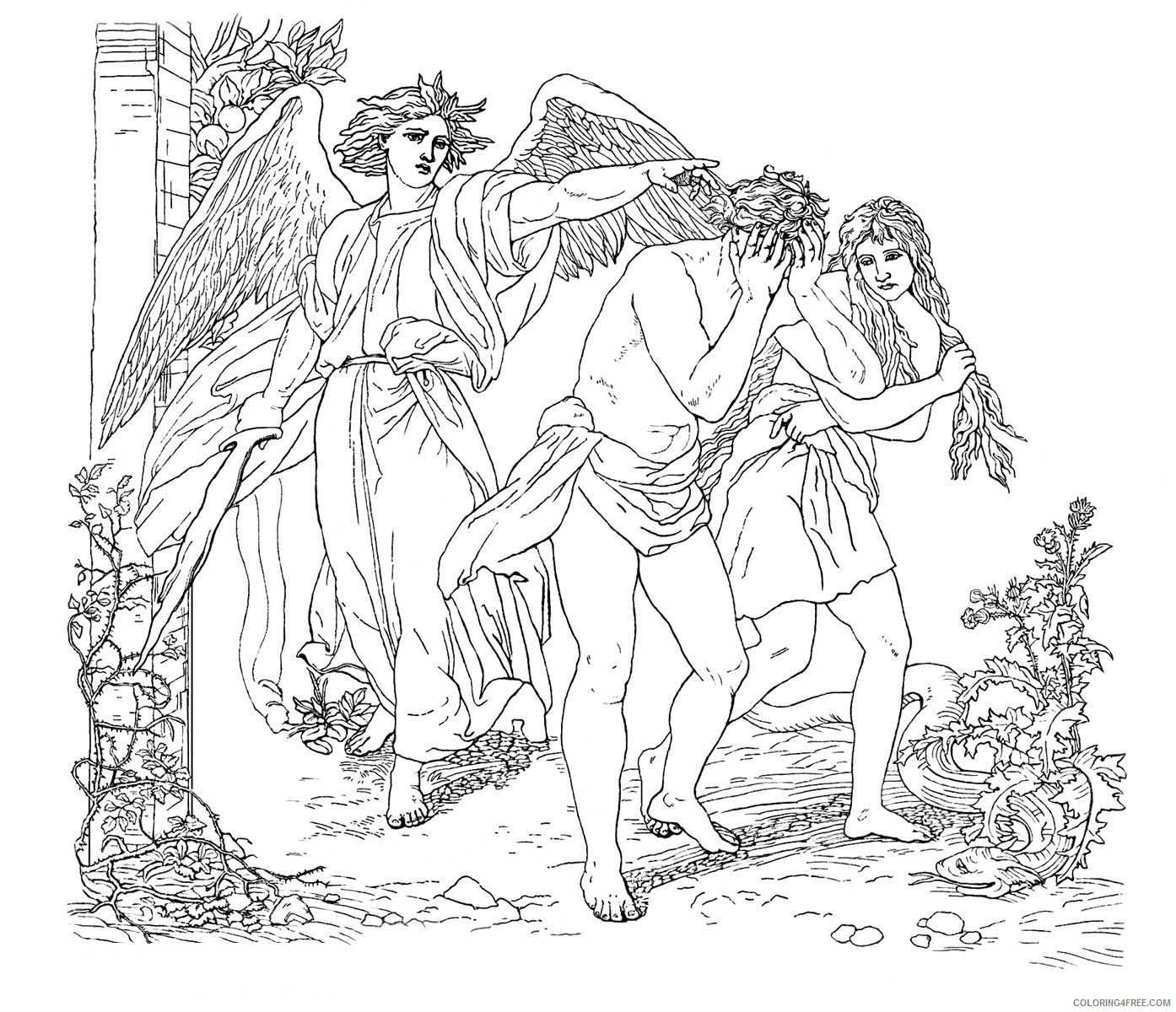adam and eve coloring pages expelled from eden Coloring4free