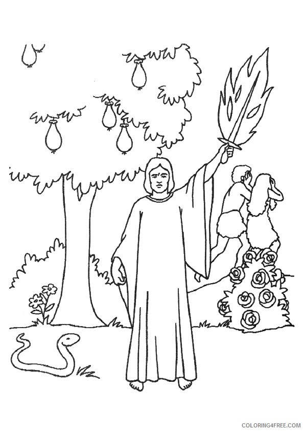 adam and eve coloring pages expelled from the garden Coloring4free