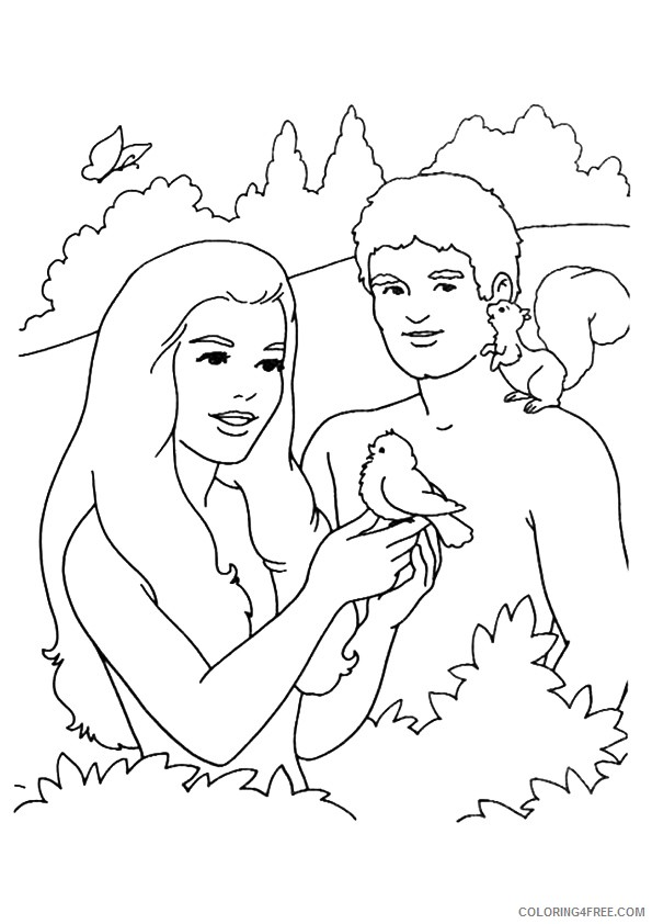 adam and eve coloring pages with animals Coloring4free