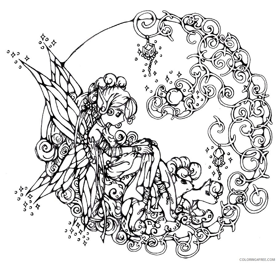 adult coloring pages fairy art Coloring4free