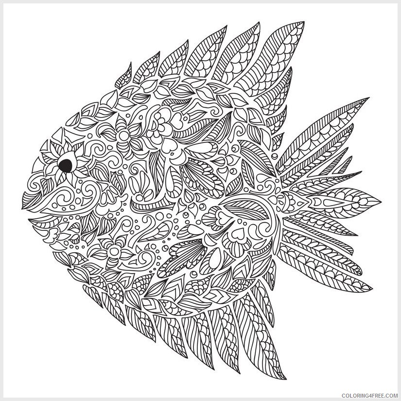 adult coloring pages fish pattern Coloring4free