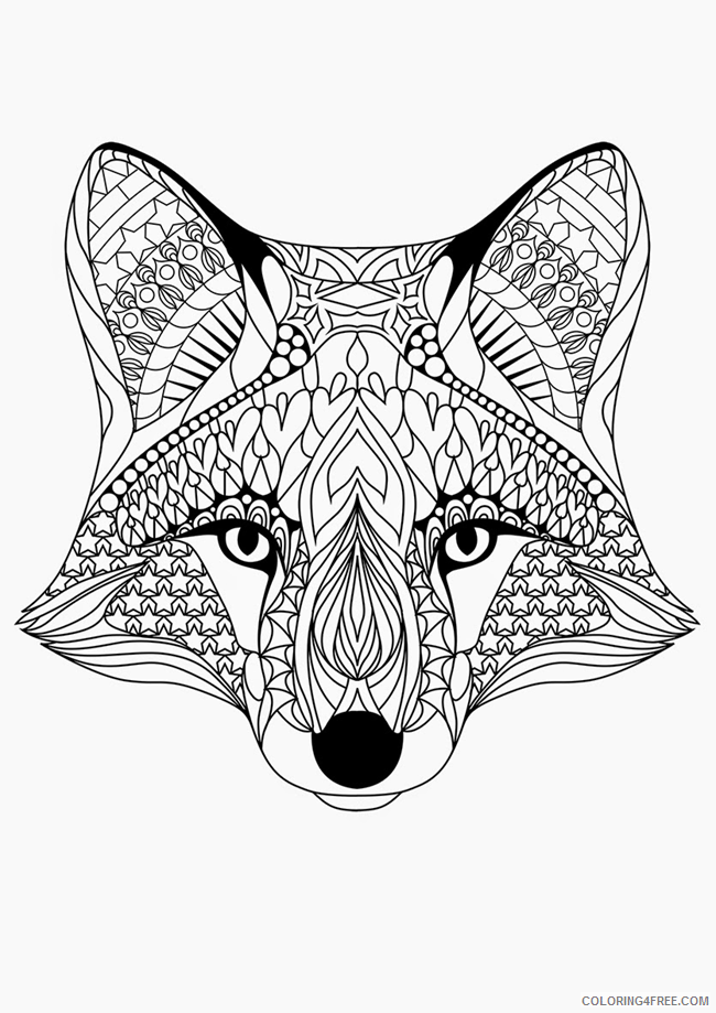 adult coloring pages fox head Coloring4free