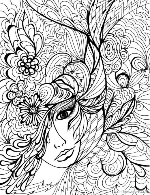 adult coloring pages girl face Coloring4free