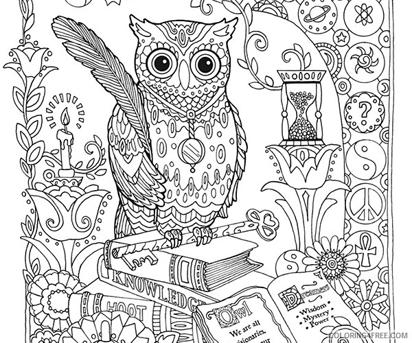 adult coloring pages hard owl Coloring4free