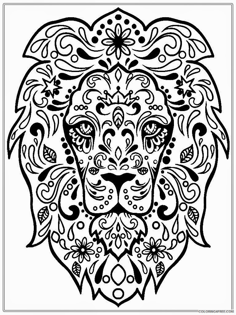 adult coloring pages lion face Coloring4free