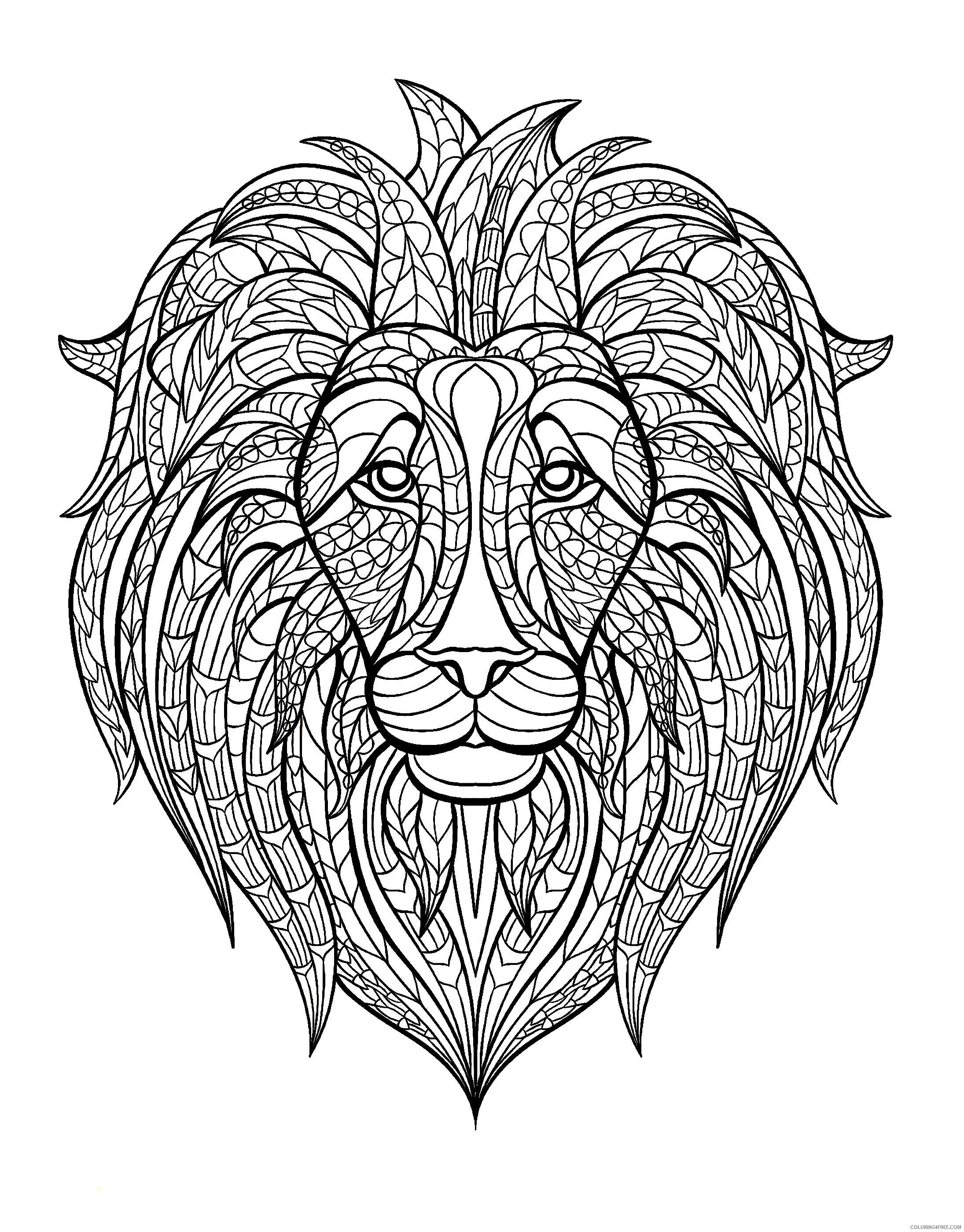 adult coloring pages lion head Coloring4free