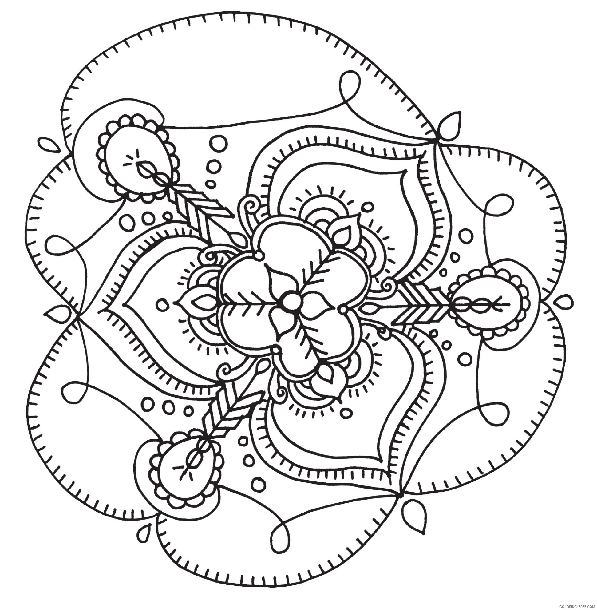 adult coloring pages mandala flower Coloring4free