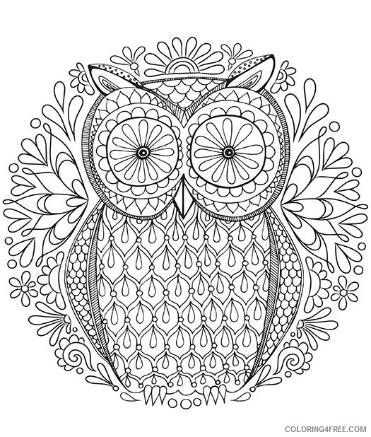 adult coloring pages owl by thaneeya Coloring4free