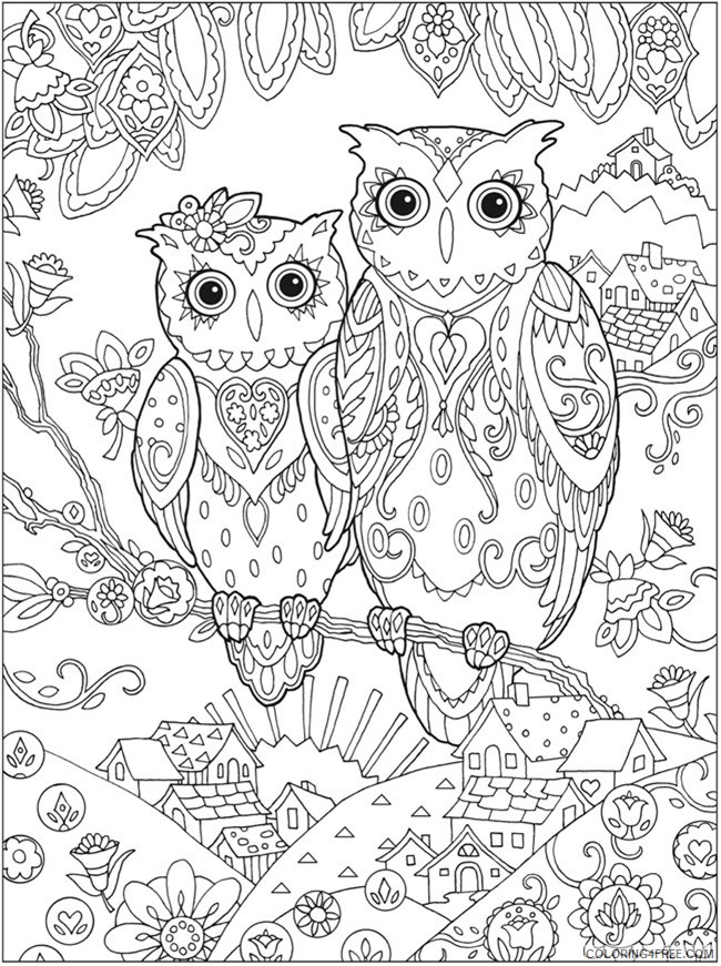 adult coloring pages owl couple printable Coloring4free