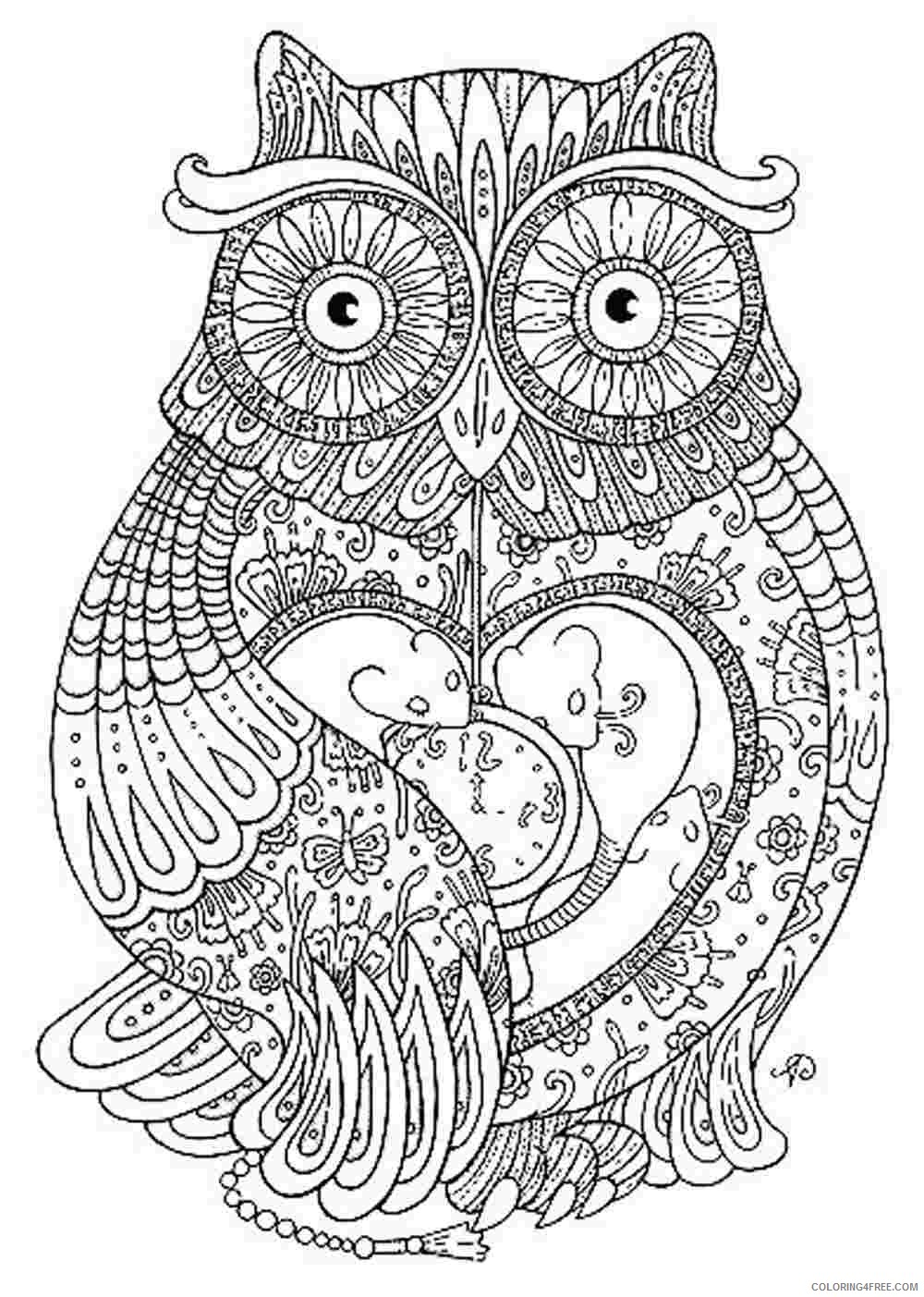 adult coloring pages owl printable Coloring4free