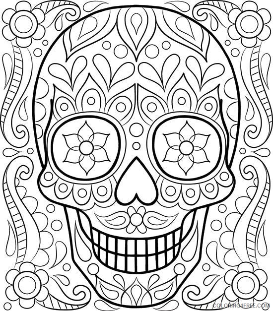 adult coloring pages skull art Coloring4free