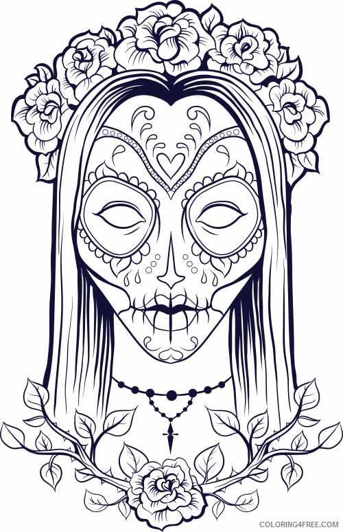 adult coloring pages sugar skull girl Coloring4free