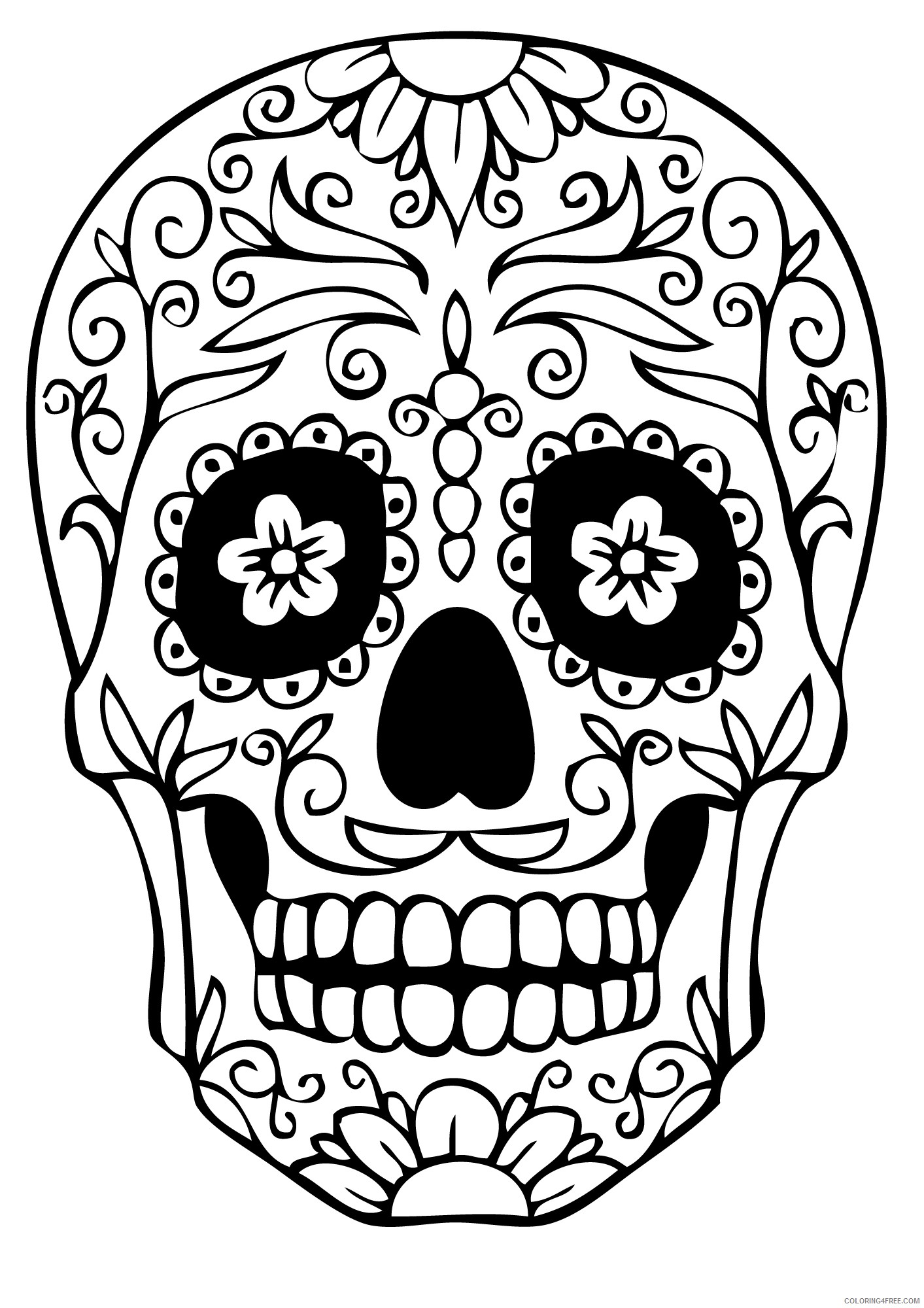 adult coloring pages sugarskull Coloring4free