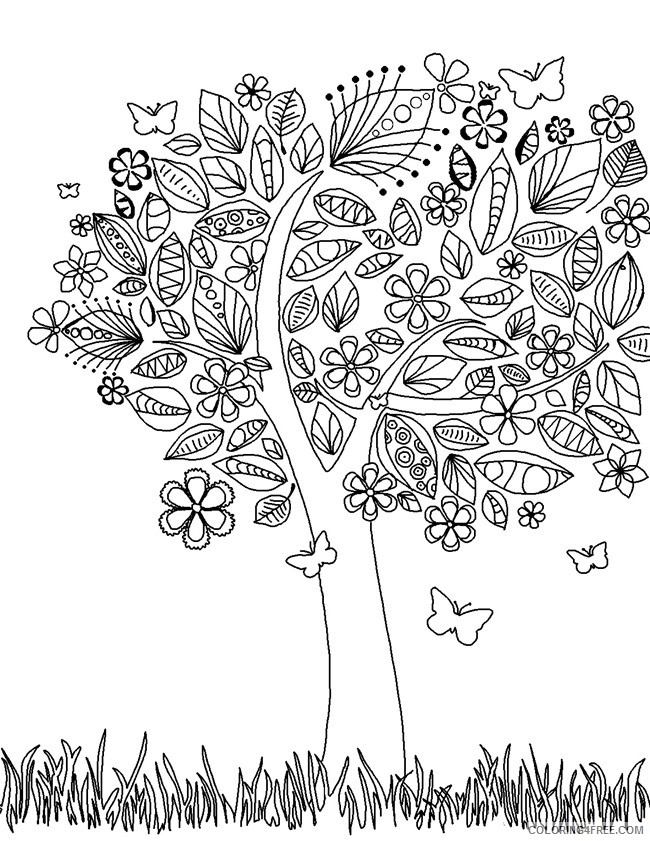 adult coloring pages tree printable Coloring4free