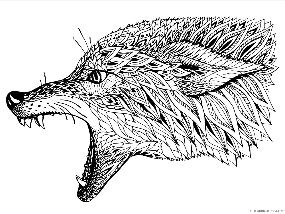 adult coloring pages wolf head Coloring4free