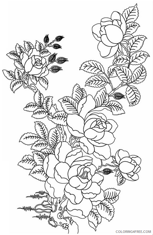 advanced coloring pages of flowers Coloring4free