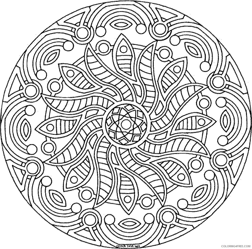 advanced coloring pages of mandala Coloring4free