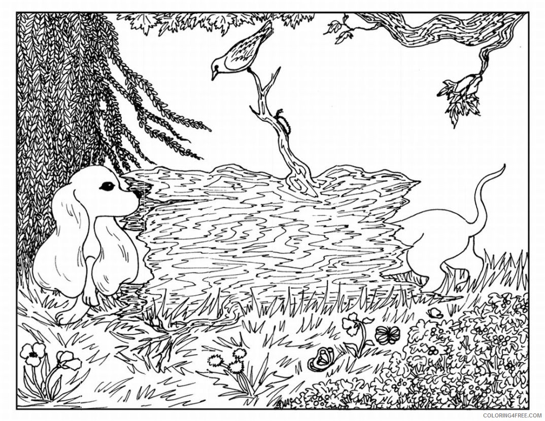 advanced coloring pages of nature and dog Coloring4free