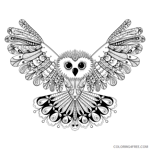 advanced coloring pages owl wingspan Coloring4free