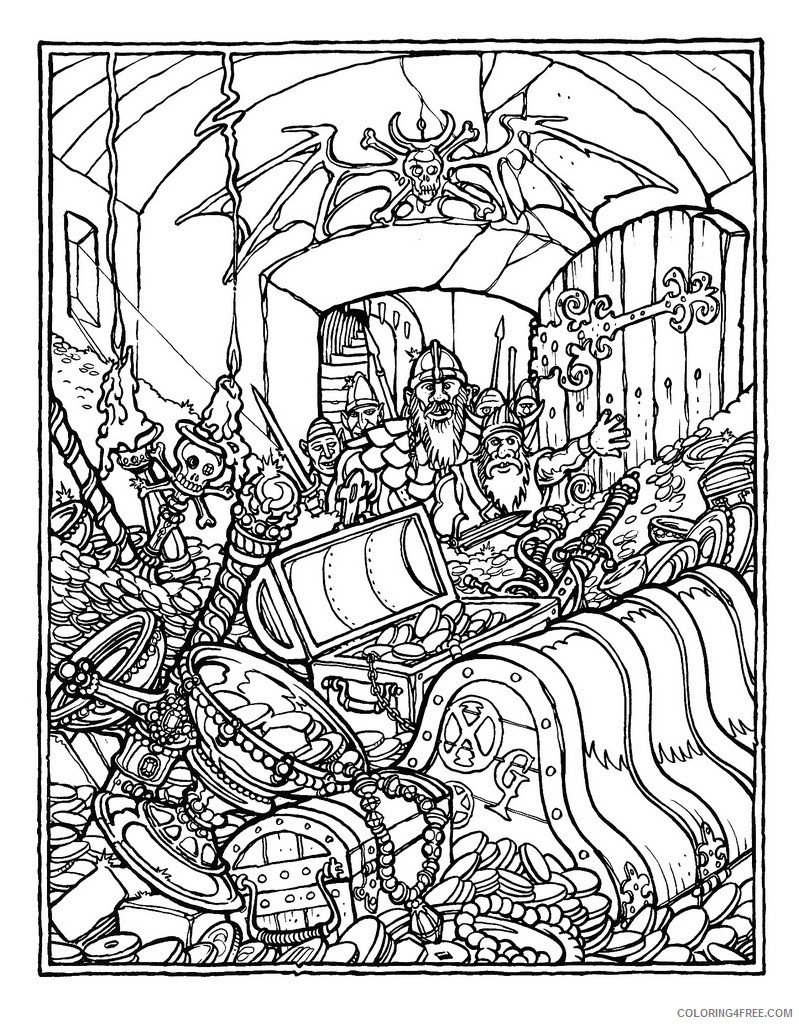advanced coloring pages vikings and treasures Coloring4free
