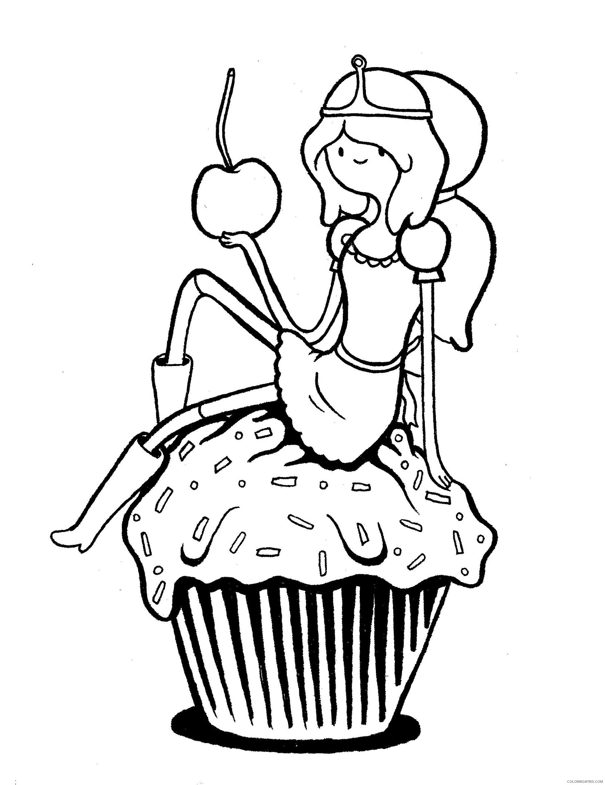 adventure time coloring pages princess bubblegum on cupcake Coloring4free