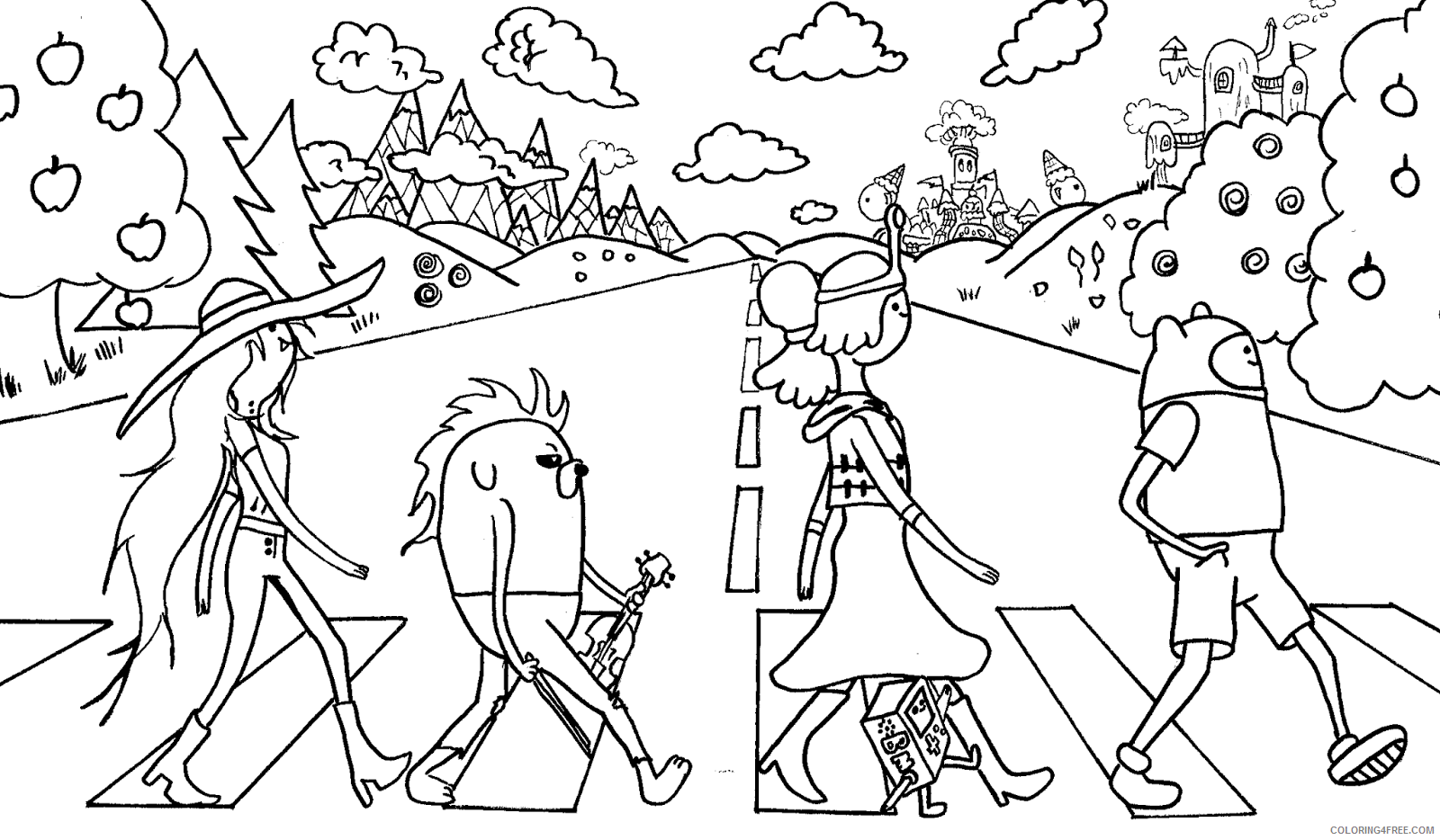 adventure time coloring pages the beatles Coloring4free
