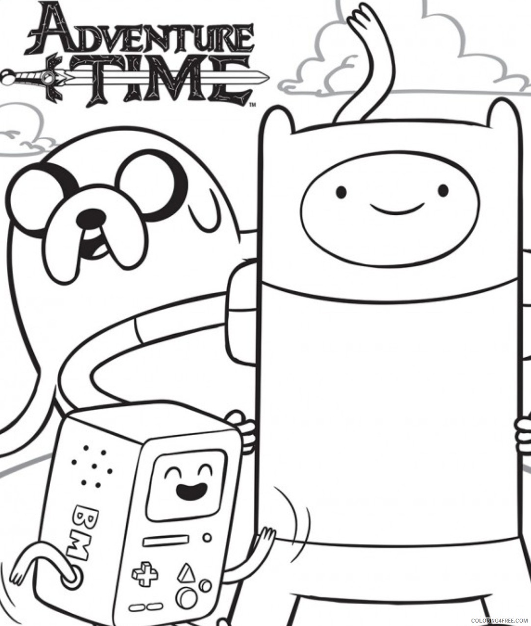 adventure time coloring pages to print Coloring4free