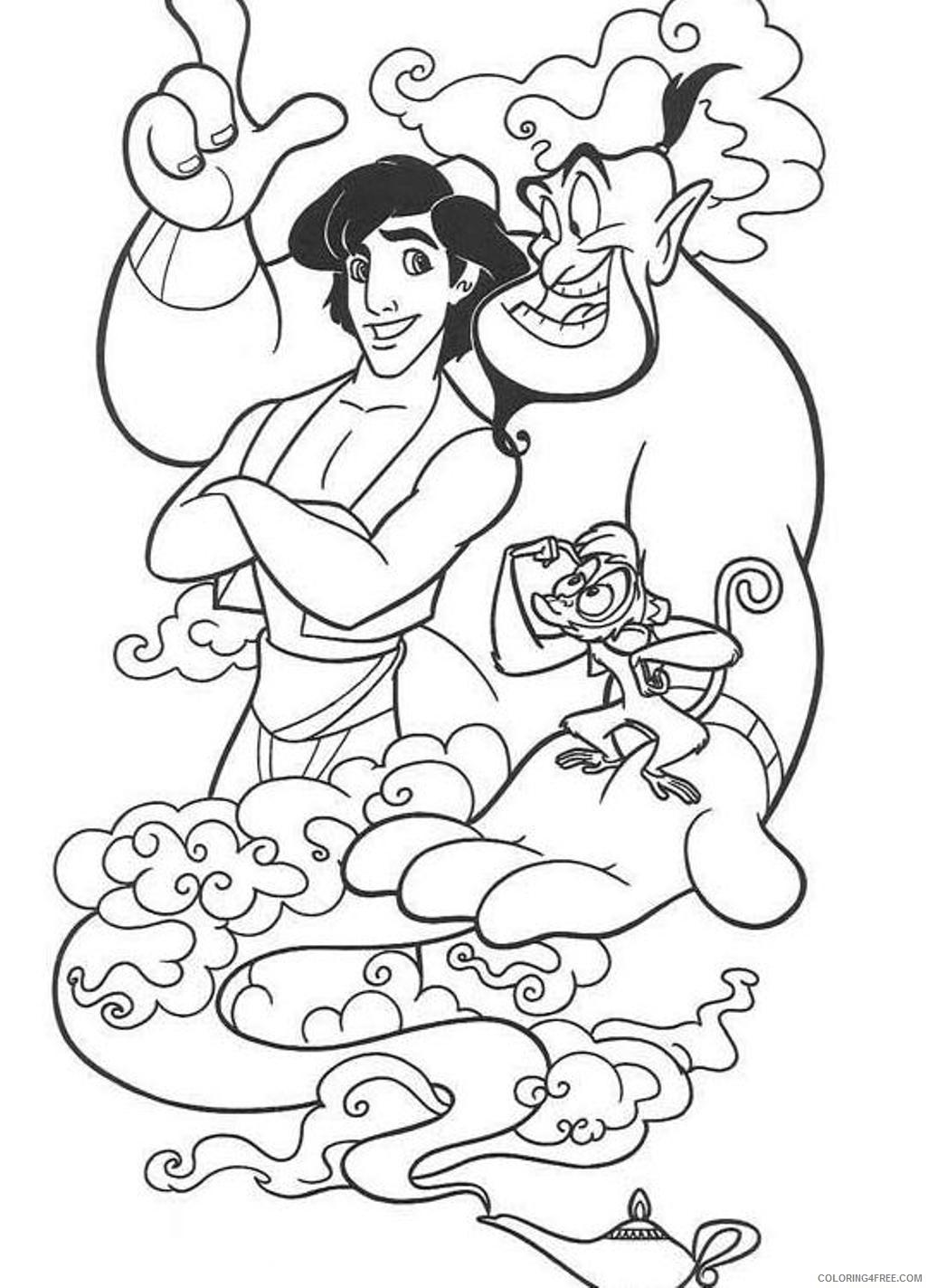 aladdin coloring pages aladdin abu genie Coloring4free