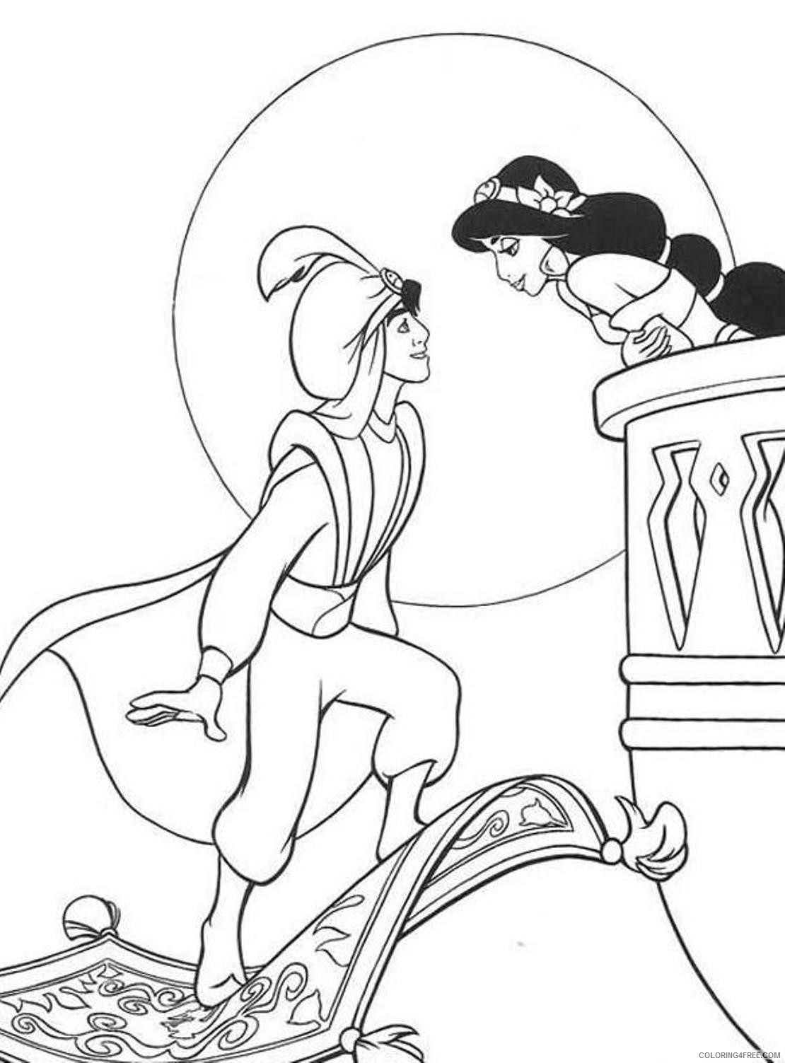 aladdin coloring pages aladdin and princess jasmine Coloring4free