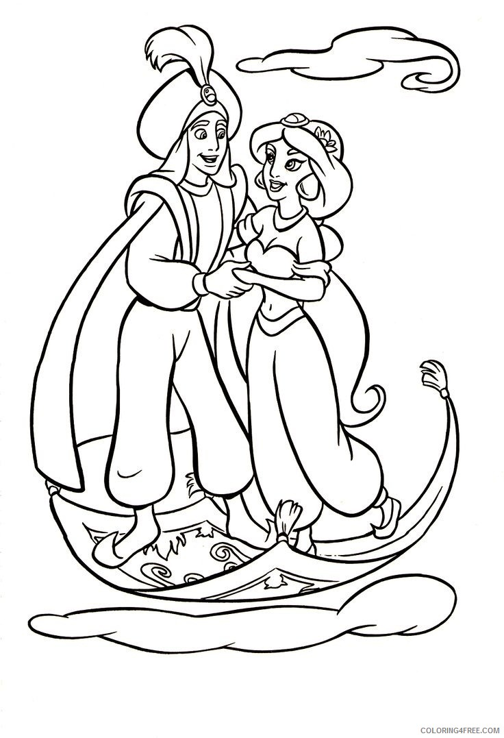 aladdin coloring pages flying with magic carpet Coloring4free