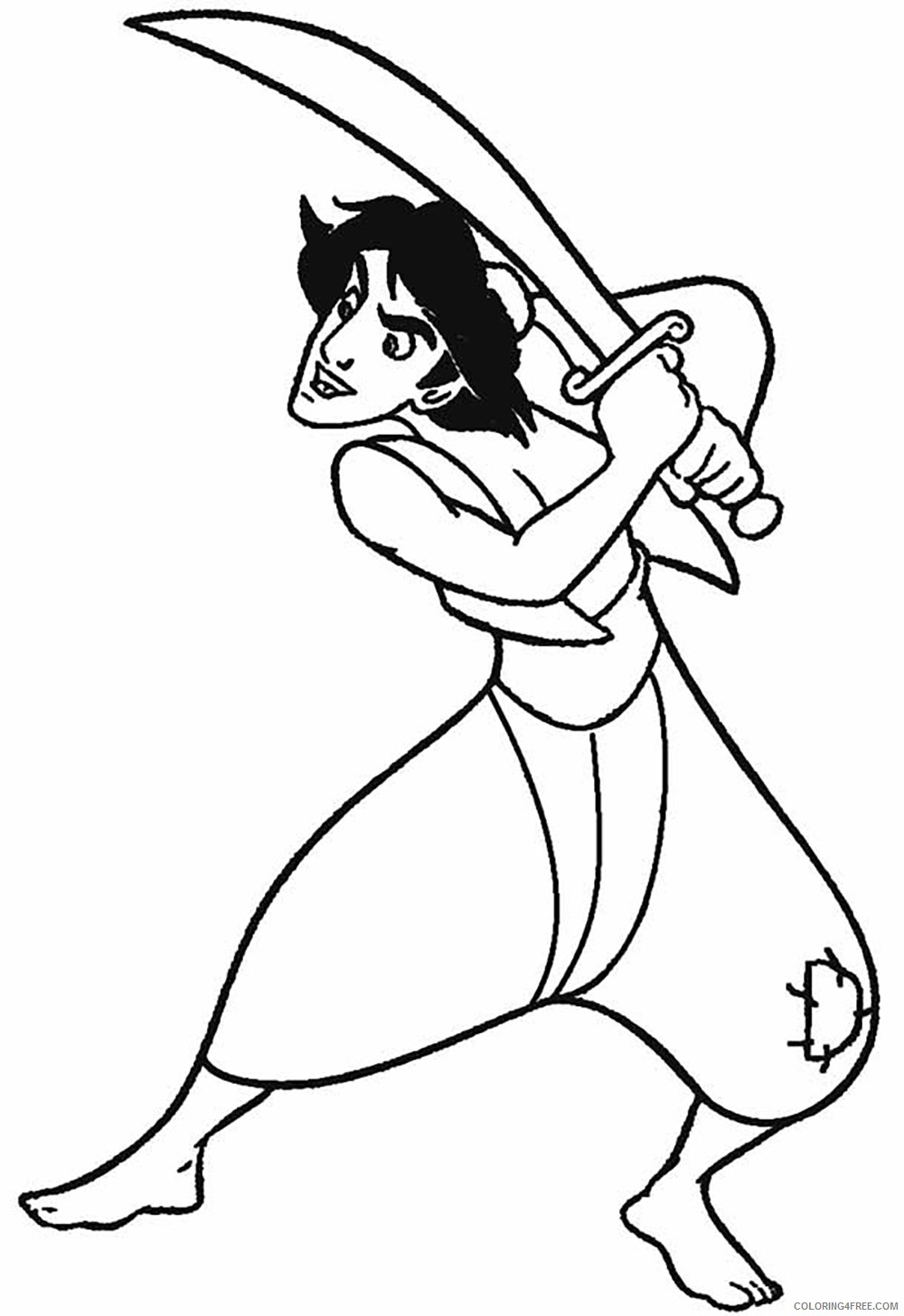 aladdin coloring pages holding sword Coloring4free