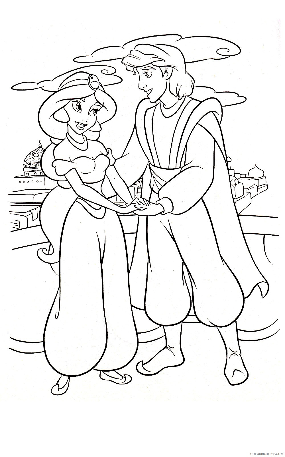 aladdin coloring pages with jasmine Coloring4free