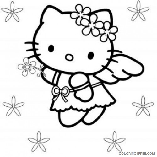 angel coloring pages hello kitty Coloring4free