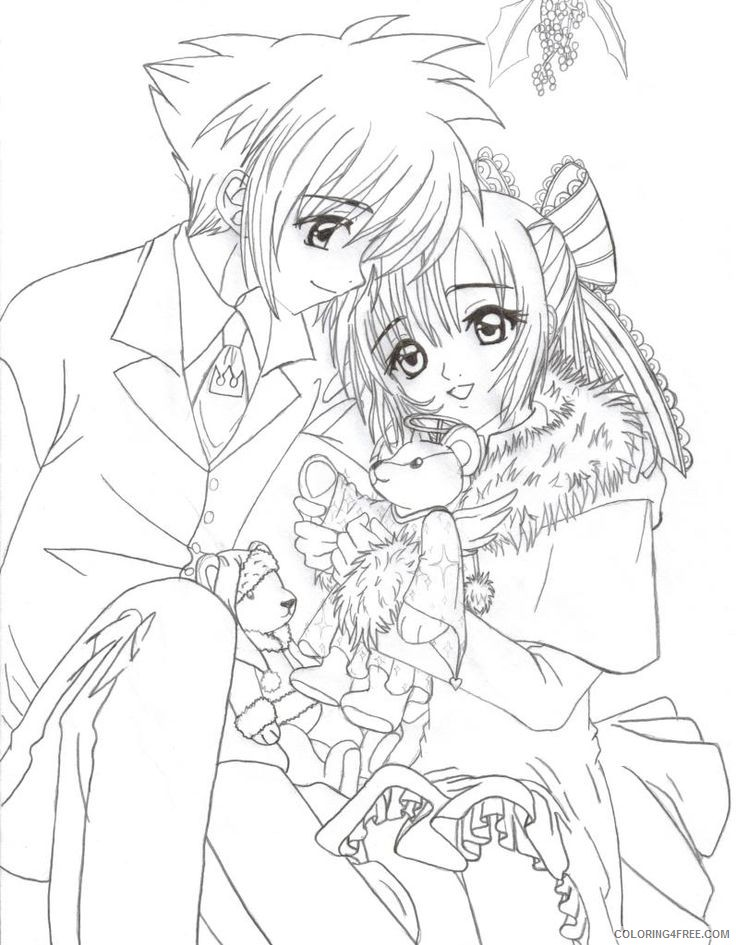 anime coloring pages boy and girl couple Coloring4free