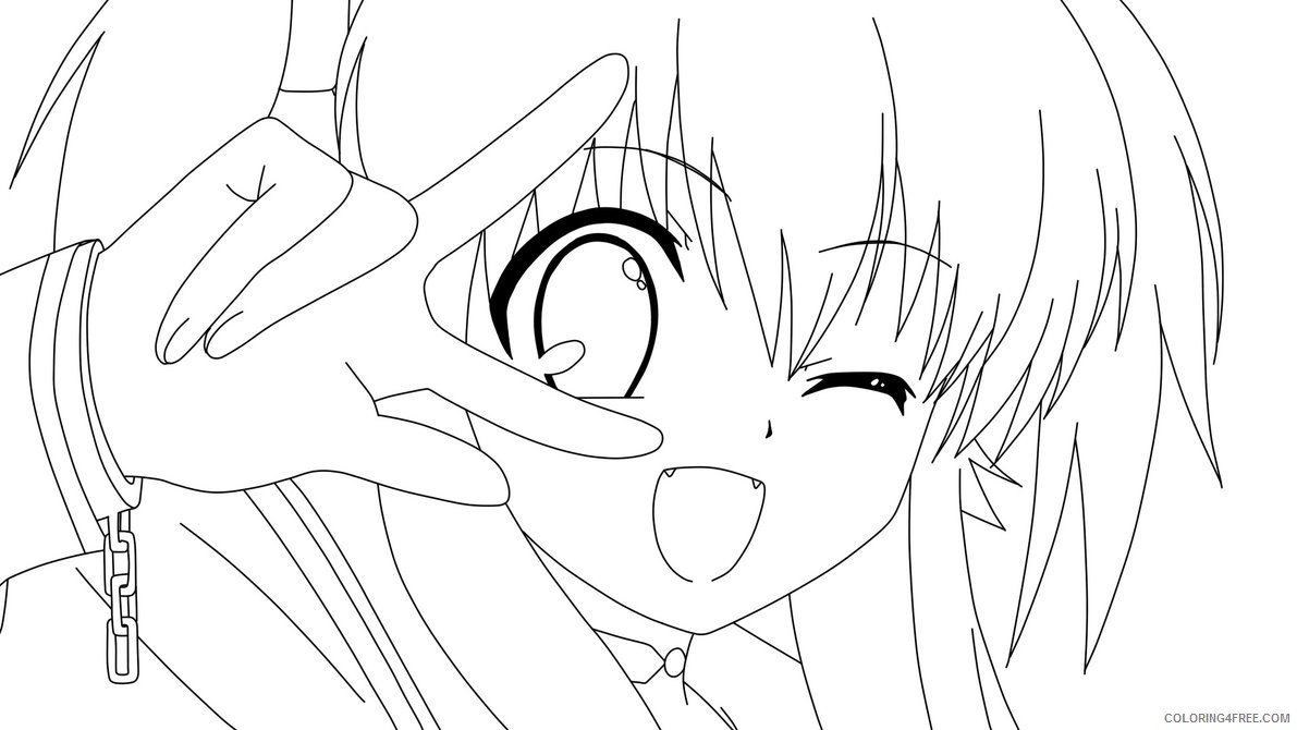 anime coloring pages cat girl face Coloring4free