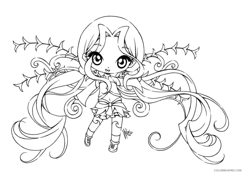 anime coloring pages chibi girl Coloring4free