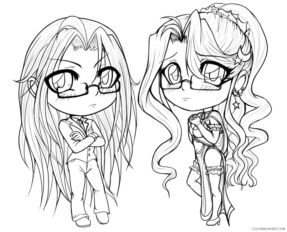 anime coloring pages chibi girls Coloring4free